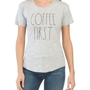 Rae Dunn Coffee First Grey T-Shirt Size Small